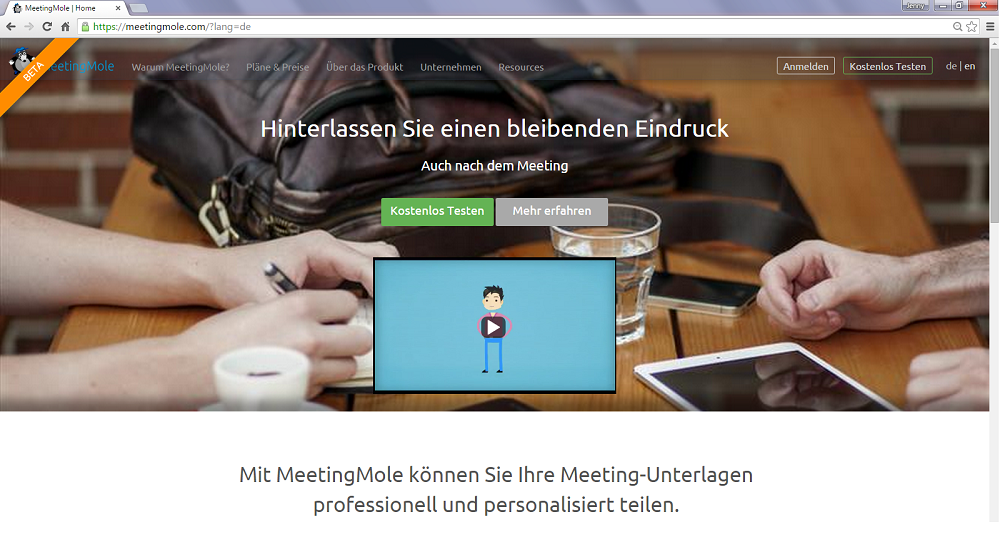 MeetingMole frontpage
