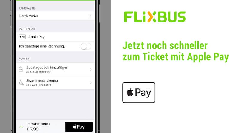 Apple Pay wird in die iOS App von FlixBus integriert