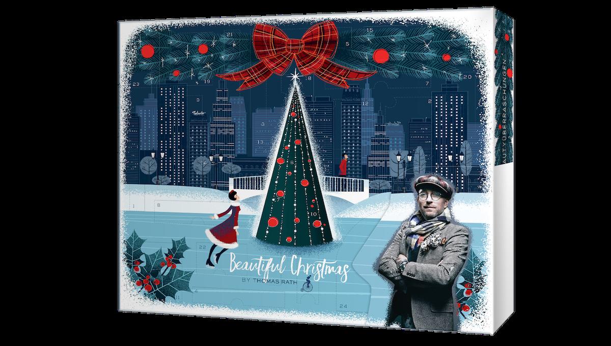 Im selbst kreierten Design präsentiert Modedesigner Thomas Rath für die Weihnachtszeit 2019 einen Kosmetikkalender – exklusiv für die Drogerie Müller.