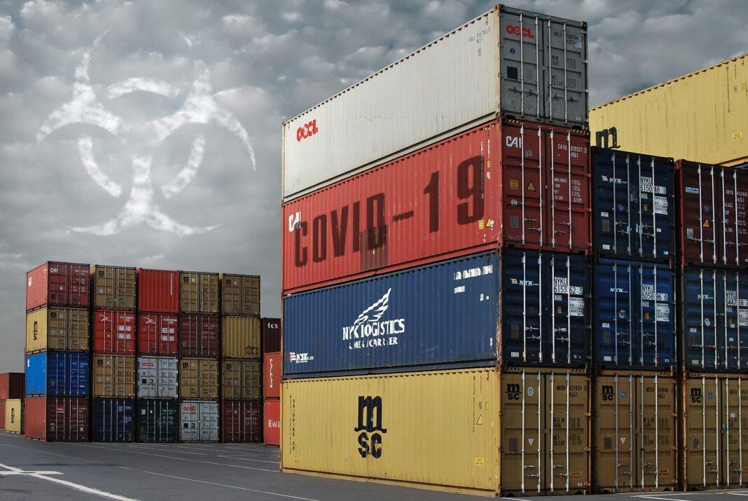 """Container mit der Aufschrift """"Covid-19"""" aktienmarkt"""